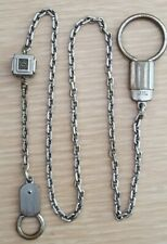 Tone, Single Chain-Round Eyelets Vintage Signed Hickok-Usa Watch Fob-Silver