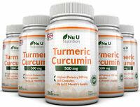Turmeric Curcumin 5 x 365 capsules 500mg Anti-inflammatory Nu U Nutrition