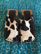 Vintage 90s Square Toe Wooden Mule Clogs, Leather, Size UK4 EU37, Nine West