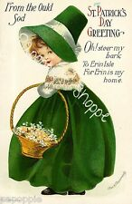 St Patrick's Day Fabric Block Vintage Postcard on Fabric Irish Girl Shamrock