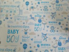 WHITE/BLUE/GREY NEW BABY BOY WORDS/ANIMALS WRAPPING PAPER 2 SHEETS+1 GIFT TAG