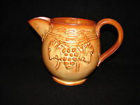 Vintage Made In Italy Pottery or Ceramic Brown Grape Leaf Designed Pitcher