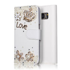 Samsung Galaxy S8 Case 3D White Crystal Bling Flip Leather Wallet Diamond Crown