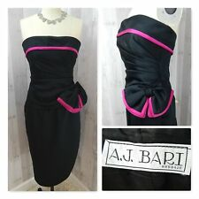1970-80s Vintage Black/Hot Pink Strapless Dress~Aj Bari~Ruched Bow Prom 32x25 Xs