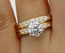 2Ct 14K Yellow Gold Over Round Engagement Promise Ring Matching Band Bridal Set