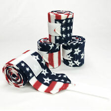 PATRIOTIC US FLAG PRINT - RED, WHITE & BLUE - FLEECE POLO LEG WRAPS – HORSE SIZE