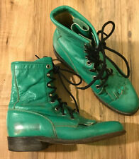 Justin Lacer Boots Lime Green Sz 4-1/2 B Roper Western Boots