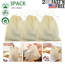 3x Organic Cotton Nut Milk Bag Reusable Food Strainer Brew Coffee Cheese Cloth