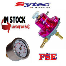 FSE SYTEC ajustable Regulador de presión de combustible 1:1 y calibre 1-5 Bar SAR001R Rojo
