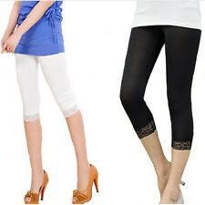 Stretchy Elastic Lace Leggings 3/4 quarter  Bodycon Jeggings  Cropped - 14 - 16