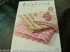 Hayfield Easy Knit Baby Blossom Chunky Blankets Pattern 4676