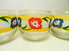 Set of 4-Hand Blown Roly Poly Glasses w/Colorful Floral Decal Band-MCM-Vintage