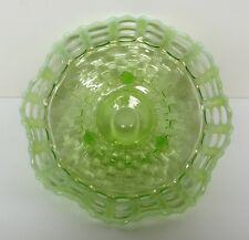Fenton Green Opalescent Basket Weave w/ Open Edge (3 Row) Footed Bowl
