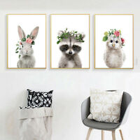 Nordic Cartoon Animal Canvas Wall Painting Picture Art Kids Room Decor Fashion