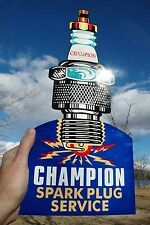 OLD STYLE CAR & TRUCK CHAMPION SPARK PLUG DIECUT SIGN MADE IN USA THICK STEEL!