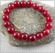 Handmade 10mm Natural Red Jade Gemstone Round Beads Stretchy Bracelet 7.5''
