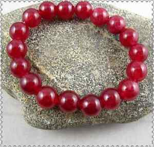 Handmade 10mm Natural Red Jade Gemstone Round Beads Stretchy Bracelet 7.5''