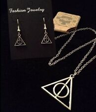 Harry Potter Necklace And Earrings **SET** Deathly Hallows Symbol Pendant *UK*