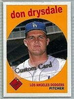 DON DRYSDALE LOS ANGELES DODGERS 1959 STYLE CUSTOM MADE BASEBALL CARD BLANK