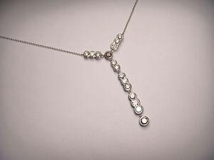 Exquisite 18K White Gold Fancy Color Brown Diamond Drop Necklace