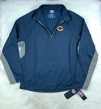 NFL Chicago Bears OTS 1/4 Zip Pullover Poly Fleece Track Jacket Navy Men's L