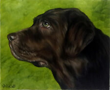 Brown Lab Dog Oil Painting Portrait Realism Style