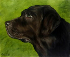 Brown Lab Dog Oil Painting Animal Pet Portrait Realism Style