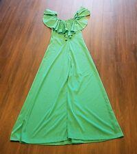 Women's Vintage Allegro New York Dress ~ Green ~ Long ~ Sz 7 ~ Off Shoulder ~USA