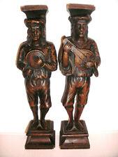 Pair Antique 18/19thc wood candlesticks figures mandolin player musician Italian