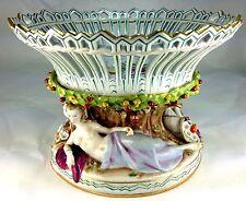 Antique Von Schierholz Dresden Porcelain Reclining Nudes Two Piece Center Bowl