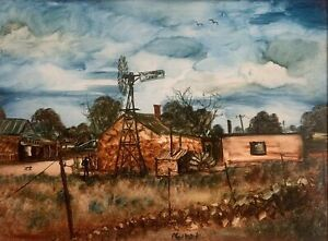 Original Oil On Board Painting By Pro Hart Silverton Depicting Farmhouse