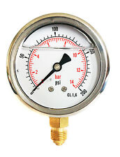 Hydraulic Pressure Gauge Glycerine Filled 0/200 PSI & 0/14 Bar 63mm Dial 1/4 BSP