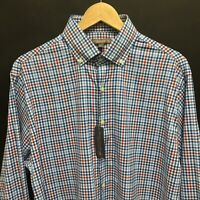 NEW Mens Large PETER MILLAR Summar Comfort Gingham Plaid Shirt -Logo on Cuff 20c