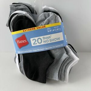 HANES Boys No Show Socks 20 pairs Size Small Shoe Sz 4.5-8.5 Black Gray White
