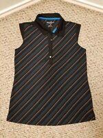 Tommy Armour Womens Size S Dri-Logic Striped Sleeveless Golf Polo Shirt Black