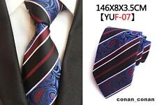 Blue, Black, Red and White Paisley Patterned Handmade 100% Silk Tie