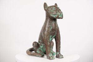 "Great Benin Bronze Leopard Statue 19.25"" - Nigeria - African Art"