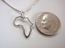 Map of Africa 925 Sterling Silver Pendant Small