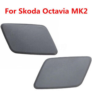 Pair Headlamp Headlight Washer Nozzle Jet Cover Cap For Skoda Octavia MK2 N/S/F