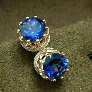 2.20Ct Round Cut Blue Sapphire stud Women's Earrings 14K Yellow Gold Finish
