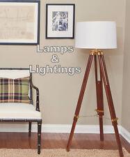 Vintage Wood Furniture Side Table Floor Tripod Lamp Modern Contemporary Decor