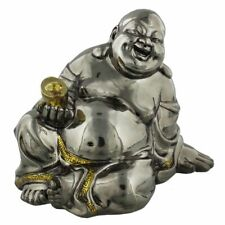 Silver Color Sitting Happy Buddha Statue Gift Ornament Lucky Belly Figurine 13cm