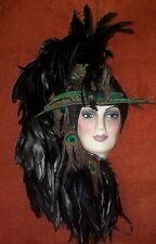 """"""" Miss Confident  """"  Mask  with Peacock Feathers  20"""" X  12""""  Number PMF-125"""