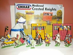 PAINTED SOLDIERS 1/72 20mm - MEDIEVAL KNIGHTS - MEDIEVAL WARS x 11 EMHAR