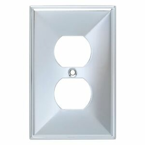 Liberty Hardware Polished Chrome WALL OUTLET Plate Cover, Brainerd Single Duplex