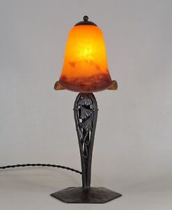 DEGUE : FRENCH 1930 ART DECO LAMP wrought iron ........... lampe muller era