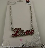 Minnie Mouse Disney Love necklace silver tone and red black