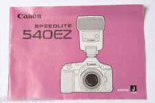 Canon Speedlite 540EZ Flash Instruction Manual Book - Japanese - USED B1