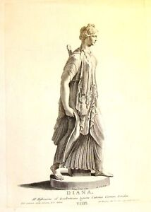 By Zanetti Greek Statues  DIANA (GODDESS OF HUNT)  Antique Copper Engraving 1743