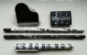 Music Themed Stationery Set - Gifts inc 2x Pencil 1x Pen, Eraser & Spring Clip